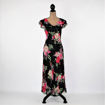 90s Long Silk Dress Black Floral Maxi Dress Romantic Chiffon Dress Women Medium Cap Sleeves Fitted Dress Vintage Clothing Womens Clothing