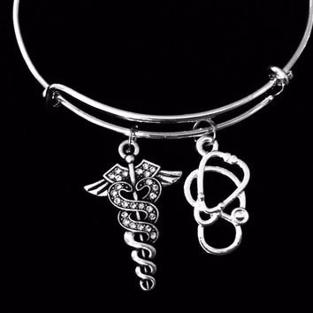 Crystal Medical Symbol Caduceus Expandable Charm Bracelet Stethoscope Silver Adjustable Bangle One Size Fits All Gift Nurse Doctor Rhinestone Bling