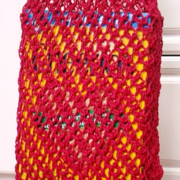 Market Bag, Quality Handknit Versatile All Occasion - Shopping - Beach - Tote Bag - Raspberry Red