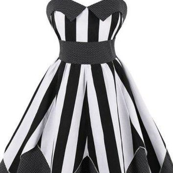 Polka-Dot & Stripe Pin Up Dress With Free Petticoat - 2 Colors