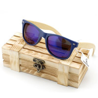 Men's Blue Lense Bamboo Wood Sunglasses in Vintage Style with  Plastic Frame and Polarized UV Protection + Gift Box