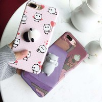 For iPhone 7 Plus 8 Plus 6 6S Plus Squishy Case Cute 3D Cat Seal Animal Stress Release Squish Cover For iPhone X 5S SE 6S 8 Plus