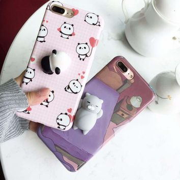 For iPhone 7 8 6 6S Plus Squishy Case Cute 3D Squeeze Cat Polar Bear Seal Animal Stress Release Cover For iPhone 5 5S SE 6 7 6S