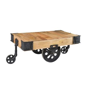 Industrial Wood Cart Coffee Table | GFURN