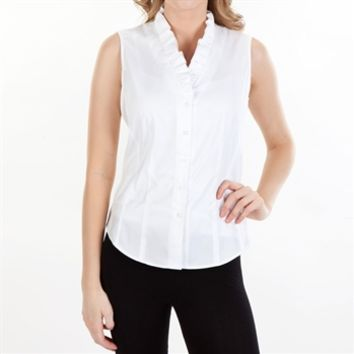 Brooks Brothers Non-Iron Cotton Ruffle Blouse at Von Maur
