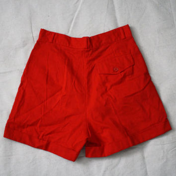 Red High Waist Shorts - High Waisted Pin Up Shorts - Womens Red Shorts