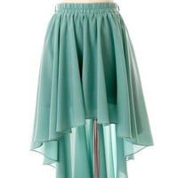 Asymmetric Waterfall Skirt in Mint Green