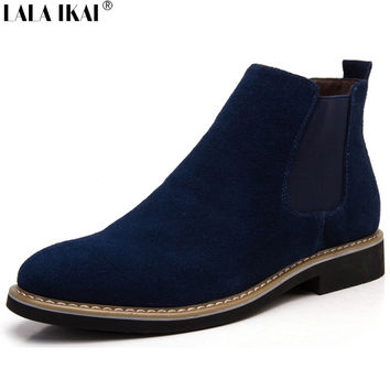 LALA IKAI Chelsea Boot Men Suede Hombre Martin Boots Low Heel Leather Ankle Boots Vintage Sewing Thread Britain Botas XMG0114-5