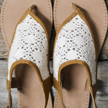 Catch Your Breath Tan And Beige Crochet Thong Flat Sandals