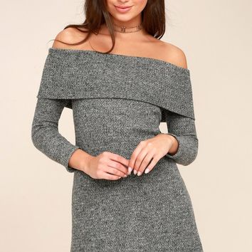 PPLA Kenli Grey Off-the-Shoulder Sweater Dress