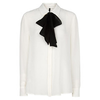 Buy Mango Contrasting Bow Blouse, Natural White online at John Lewis