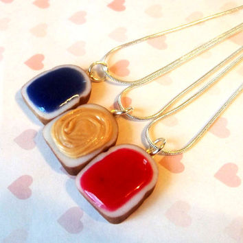 grape strawberry and peanut butter set of three best friend necklaces