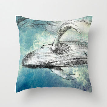 whale pillow, 16x16, pillow cover, pillow case, cushion cover, decorative pillow, throw pillow cover, accent pillow, housewares, whale gift