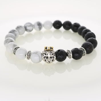 Natural Stones Silver Lion Charm BraceletTrendy Handmade Design Men's Fashion Bracelets & Bangles Women's Jewelry Accessories