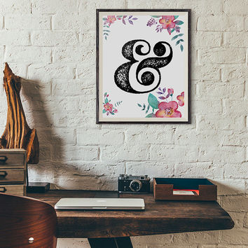 Floral ampersand print wall art printable nursery decor typography flowers INSTANT DOWNLOAD digital decoration modern & symbol and sign