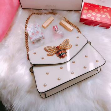 Chain ribbon is a bag of bee bag fashionable pearl girl pack little bee one shoulder slant shoulder bag tide