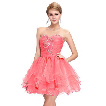 Grace Karin Short Cocktail Party Dress 2016 New Knee Length Ball Gown Homecoming Graduation Dress Beaded Short Prom Dresses 6077
