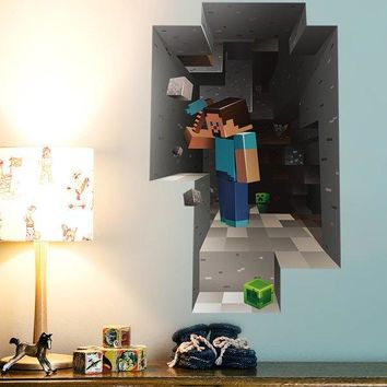 Cute 3D Mosaic Mining Pattern Wall Stickers For Children's Bedroom Decoration