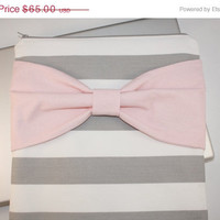 ON SALE MacBook Pro, MacBook Air Sleeve / Case - Gray & White Stripe with Light Pink Bow - Double Padded