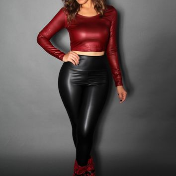 Burgundy Faux Leather Long Sleeved Crop Top