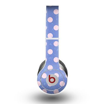 The Vintage Scratched Pink & Purple Polka Dots Skin for the Beats by Dre Original Solo-Solo HD Headphones