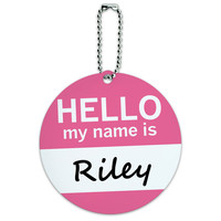 Riley Hello My Name Is Round ID Card Luggage Tag