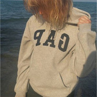 "Grey ""GAP"" Print Hoodie Sweater"