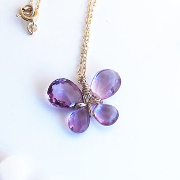 Sterling Silver Purple Amethyst Butterfly Necklace, Purple Amethyst Flower Necklace, February Birthstone Necklace, Birthday Gift for Her