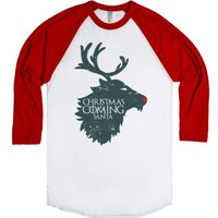 Christmas is Coming-Unisex White/Red T-Shirt