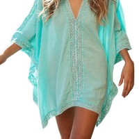 Anatoky Womens Sexy Batwing Sleeve Crochet Hollow Out Cover-ups Beachwear Beach Dress