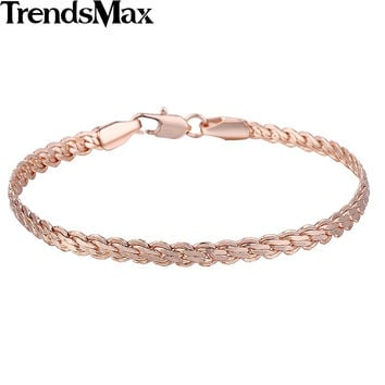 Trendsmax 4mm Wide 20cm Long Unisex Mens Womens Friendship Chain Flat Wheat Snail White Gold Filled Bracelet GB398-GB399