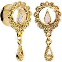 "7/16"" White Faux Opal Gold Anodized Ornate Dangle Tunnel Plug Set"