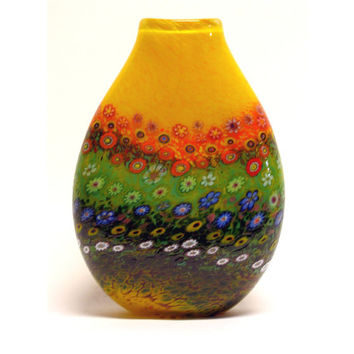 HAND BLOWN Art Glass Vase Yellow