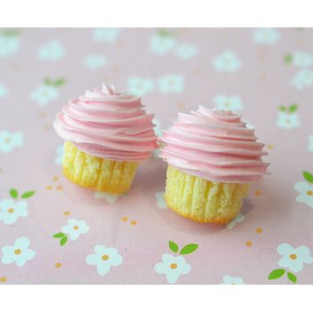Pretty Pink Cupcake Stud Earrings,Polymer Clay Miniature Food Jewelry