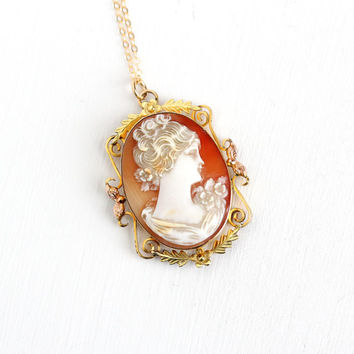 Vintage Carved Shell Cameo Locket Necklace - 1940s 1950s 12k Gold Filled Back Compartment Van Dell Two Tone Woman Silhouette Jewelry