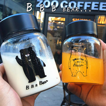 Portable Bear Fruit Tea Cup Glass Milk Mug Gift-06