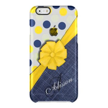 Yellow Ribbon, Jeans Fabric, Dots Pattern Monogram Clear iPhone 6/6S Case