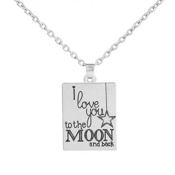My Shape Statement Necklace Znic Alloy I Love You To The Moon and Back Square Pendant Letter Engraved Choker Charms DIY Jewelry