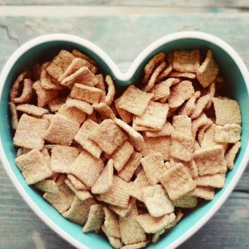 Food photograph- cereal, kitchen decor, heart shaped bowl, breakfast, whimsical, foodies, sweet, fine art photo, rusic, kitchen print,