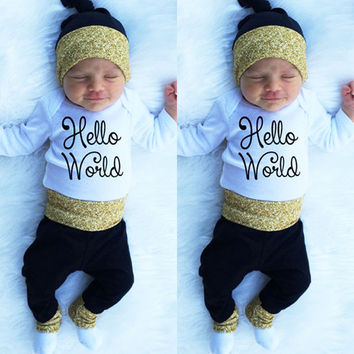 Newborn Baby Girl Boy Clothes Set Letter Printed Romper Long Pants Hat 3pcs Casual Clothing Outfits Set
