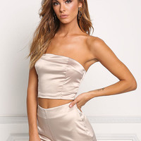 Champagne Silky Strapless Crop Top