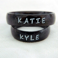 Promise Rings Couples Rings Personalized  Hand Stamped and  Engraved Black  6 mm Wide Comfort Fit