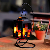 Creative Glass Metal Vintage Handcrafts Decoration Lights Christmas Iron Candle Stand [6282845446]
