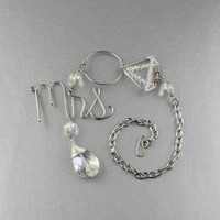 """Rear View Mirror Charm For Newly Wed Bride/Bridal Gift/Wedding Gift/Diamond Wire Ring w. """"Mrs."""" Script Wire Words/Rear View Mirror Ornament"""