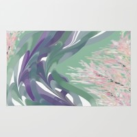 Deep Ocean River Abstract In Soft Green and Purple Rug by Jen Warmuth Art And Design