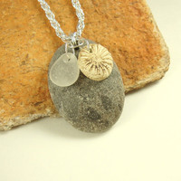 Sediment Patterned Beach Stone Sea Glass Porcelain Charm Pendant