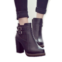 Women Thick High Heel Double Buckle Elastic Bootie Ziip Ankle Boots