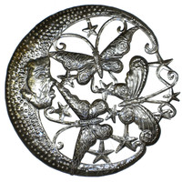 Moon and Butterflies Metal Wall Art 24-inch Diameter