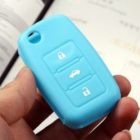ARANA Blue 3 Button Silicone remote smart fob key case cover holder key skin key bag protector jacket for VW GOLF PASSAT BEETLE GOLF JETTA
