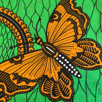 African Wax Print Fabric by the HALF YARD. Butterflies in Golden Yellow and Green